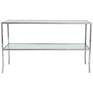 Mid-Century Chrome Faux Bamboo Console Table For Sale
