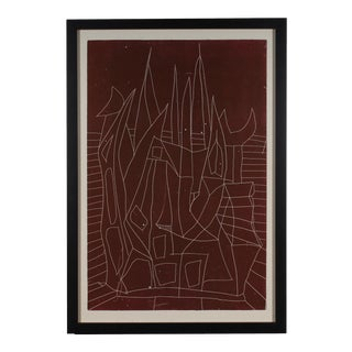 Vintage Mid Century Modern Style Abstract Cityscape Lithograph For Sale