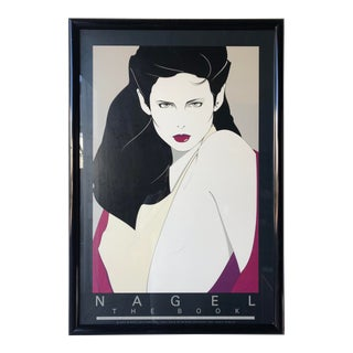 Vintage 1980s Patrick Nagel the Book Framed Lithograph Poster For Sale