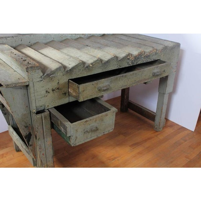 Industrial Antique Printer's Working Wood Table/Desk For Sale - Image 3 of 4