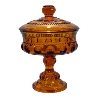 King's Crown Amber Glass Candy Dish For Sale