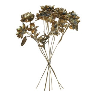 1960s Vintage Chinese Brass Floral Bouquet - Set of 7 For Sale