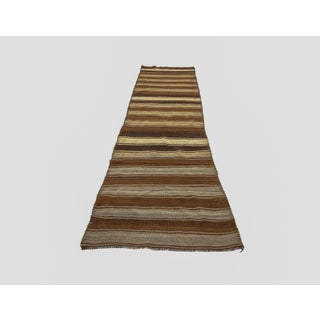 1960s Vintage Brown Striped Natural Kilim Runner- 3′1″ × 10′ Preview