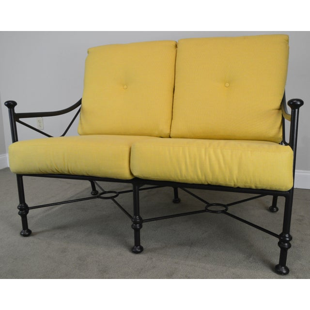 Black Giacometti Style Patio Love Seat by Winston For Sale - Image 8 of 13