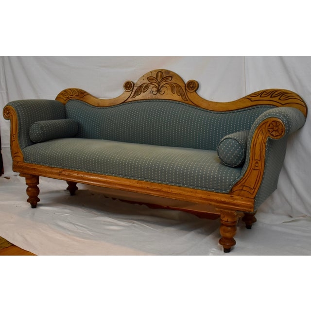 Regency Late 19th Century Irish Pine Camelback Settee For Sale - Image 3 of 13