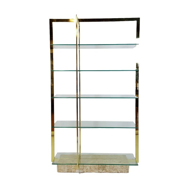 Brass Etagere With Faux Tesselated Marble Base - Image 3 of 5