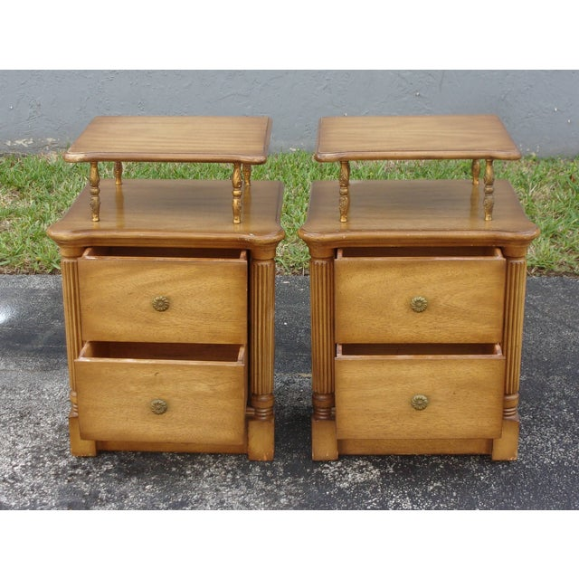Vintage 2-Drawer Regency Style Nightstands - Pair - Image 5 of 10