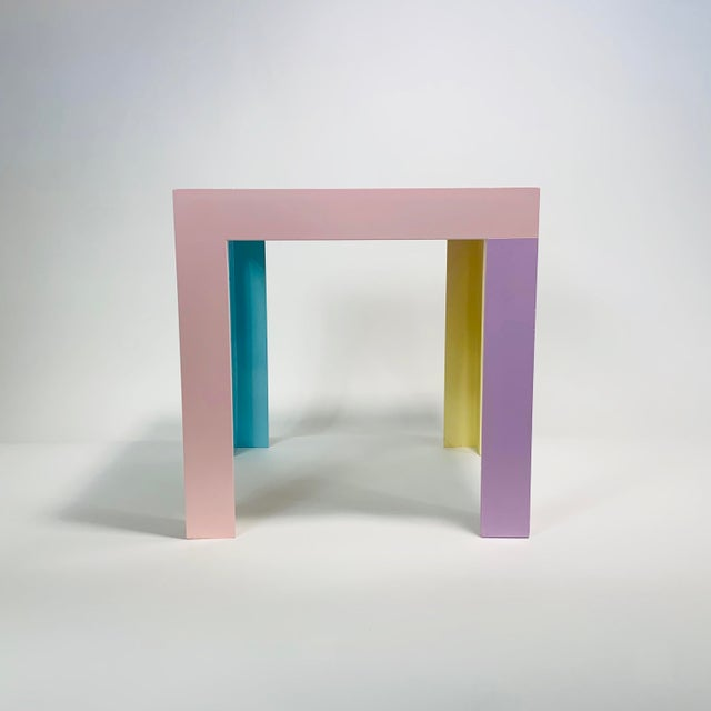 Memphis Inspired Pastel Parson Style Side Table For Sale In San Francisco - Image 6 of 10