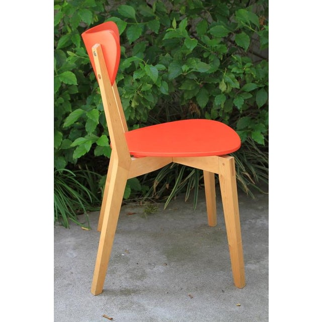 Mid Century Tangerine Chairs - Set of 3 - Image 7 of 8