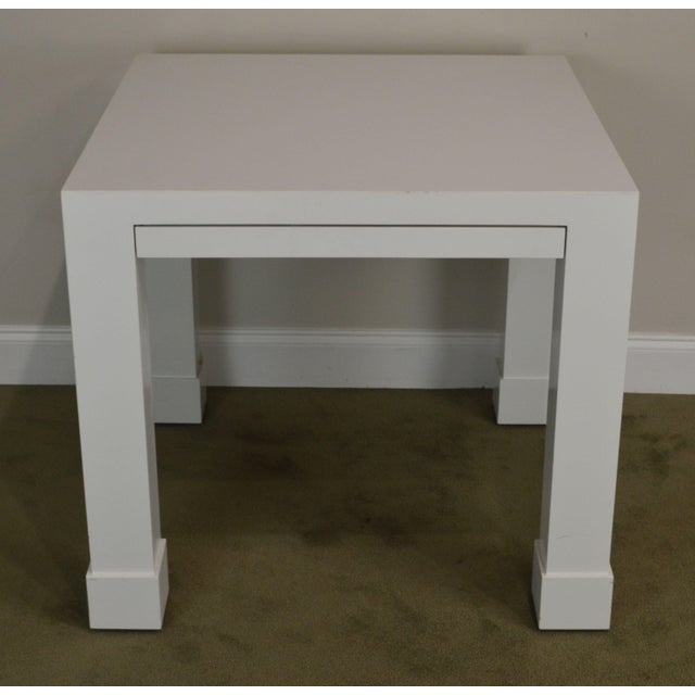 Mid-Century Modern White Lacquer Mid Century Square Parsons Game Table For Sale - Image 3 of 12