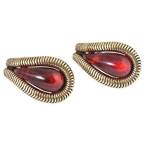 Contemporary Oscar De La Renta Ruby Red Earrings For Sale - Image 3 of 8
