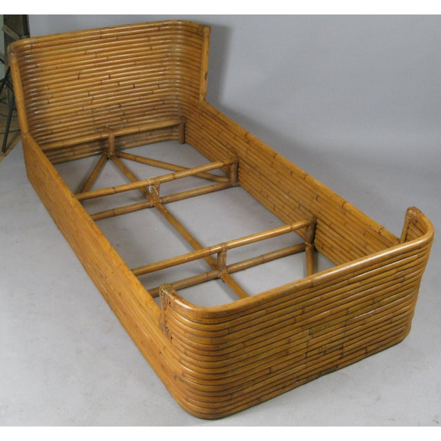 Boho Chic 1940s Boho Chic Rattan Twin Bed With Curved Corners For Sale - Image 3 of 7
