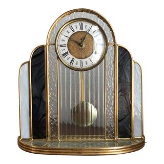 Vintage Art Deco Style Glass Mantle Clock