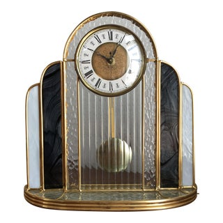 Vintage Art Deco Style Glass Mantle Clock For Sale