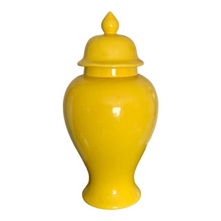 Chinoiserie Yellow Ceramic Temple / Ginger Jar For Sale