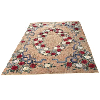 Large Room Sized Rose and Ribbons Hand-Hooked Rug For Sale