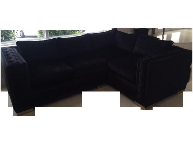 Black Croc Velvet Sectional Sofa Chairish