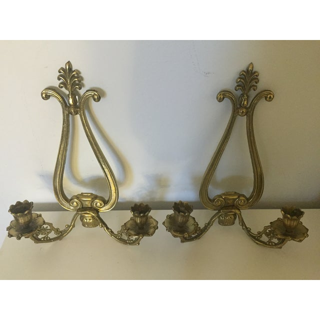 Victorian 2 Arm Candle Wall Sconce- Pair - Image 3 of 7