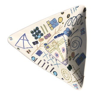 Artist-Made Postmodern Triangular Ceramic Bowl For Sale