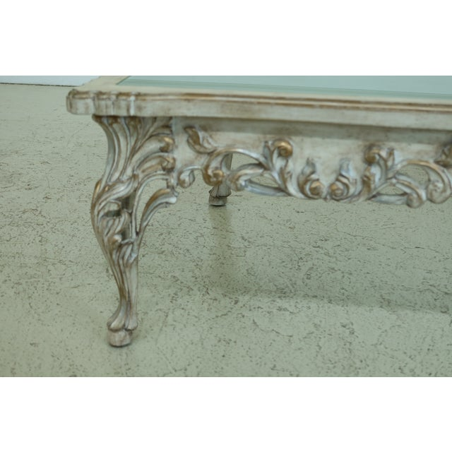 French Paint Decorated Coffee Table w. Frosted Glass Top Age: Approx: 20 Years Old Details: Nice Carved Details High...
