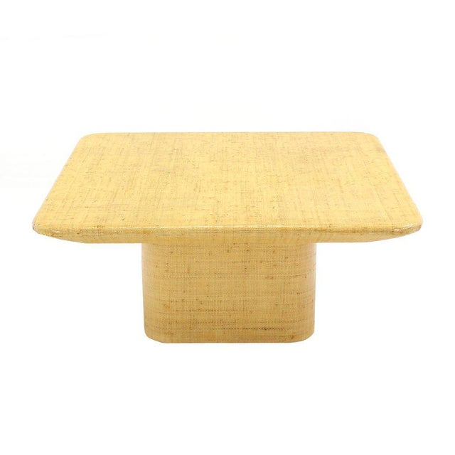 Mid-Century Modern Square Cloth Covered Coffee Table Under Beveled Edge. For Sale - Image 3 of 7