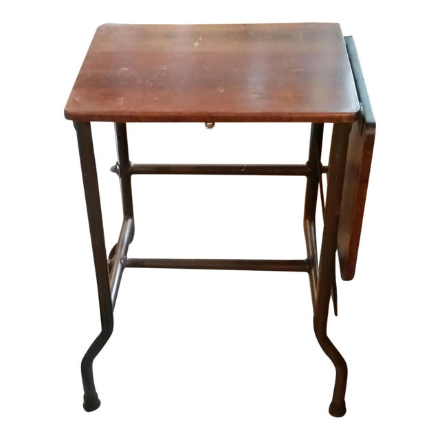 1960s Traditional Ideal Sherman-Manson Wood/Metal Typewriter Table For Sale