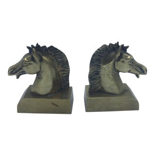 Brass Horse Head Bookends - a Pair For Sale
