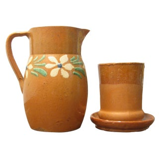 French Terracotta Water Pitcher, Cup, & Coaster, S/3 For Sale