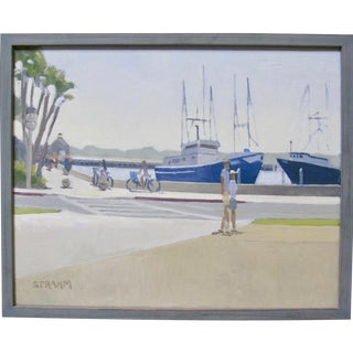 Contemporary California Impressionist Oil Painting Nautical Figures Harbor Signed Paul Strahm For Sale