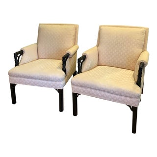 Vintage Chinese Chippendale Club Chairs - a Pair For Sale