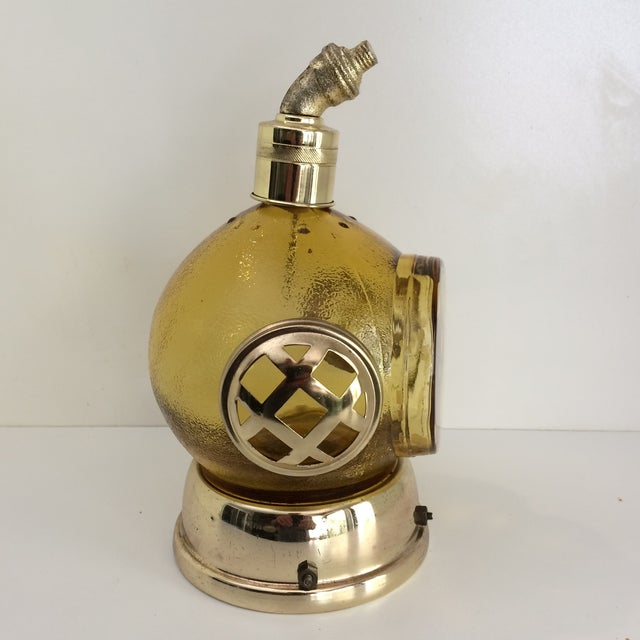 Mid-Century Modern Vintage Amber Glass and Brass Music Box Diving Helmet Decanter For Sale - Image 3 of 12