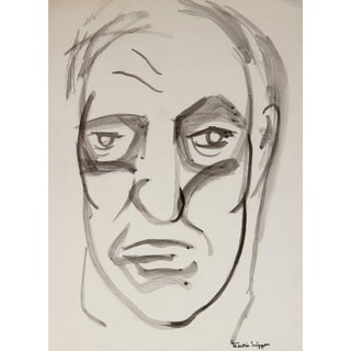 Martin Snipper Mid Century Portrait of a Man, Ink on Paper For Sale