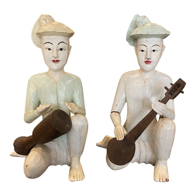 Thailand Wooden Musician Figurines - a Pair For Sale