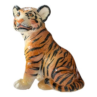 Italian Ceramic Glazed Tiger Statue For Sale