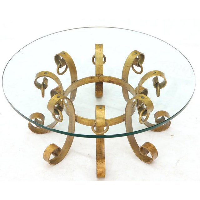 Round Decorative Gilt Wrought Iron Base Glass Top Sunburst Coffee Table For Sale - Image 9 of 13
