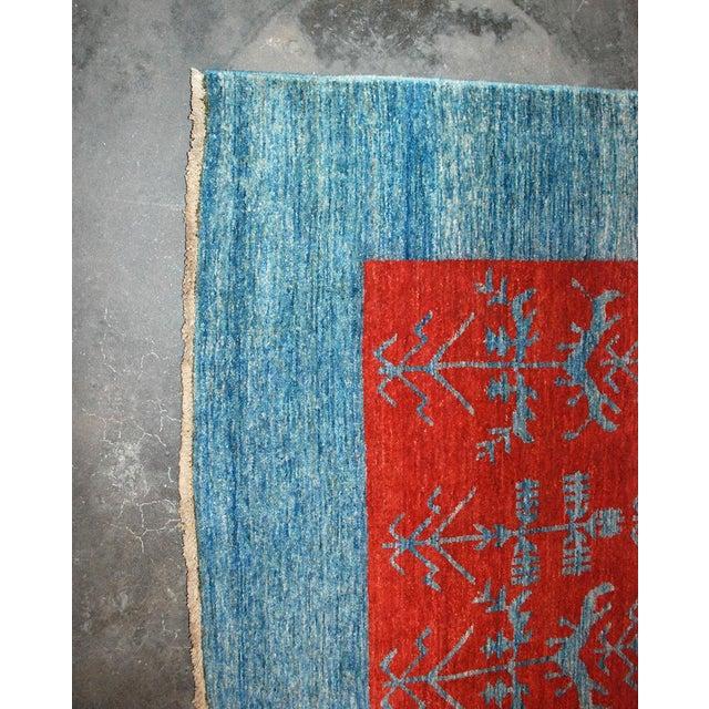 2000 - 2009 Vintage Gaba Blue and Red Rug 6x9 For Sale - Image 5 of 6