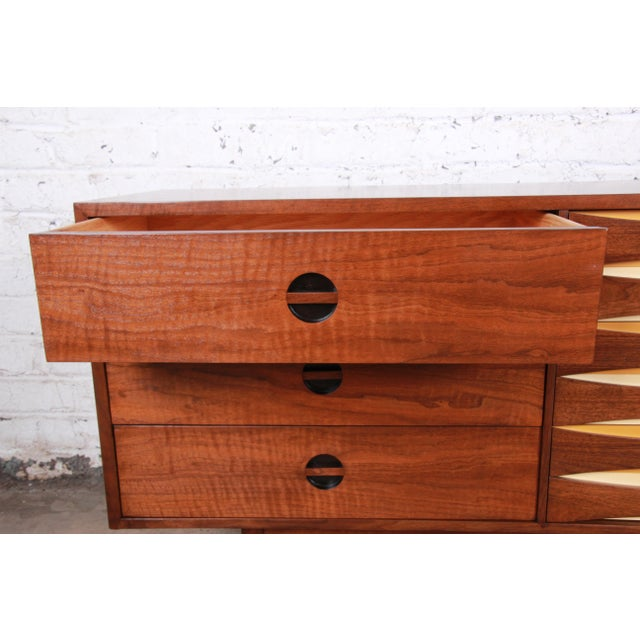 Brown West Michigan Furniture Company Mid-Century Modern Walnut Triple Dresser or Credenza For Sale - Image 8 of 13