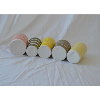 Contemporary Ceramic Multi Striped Cylindrical Vessels - Group of 5 Preview