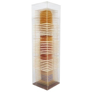 Wood and Paper Sculpture in Acrylic Box by Irving Harper, Usa For Sale