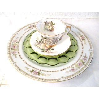 White Roses Mismatched Dinner Set - Set of 4 Preview