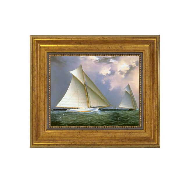 James E Buttersworth Mischief and Gracie Schooner Race Reproduction Oil Painting For Sale - Image 4 of 4