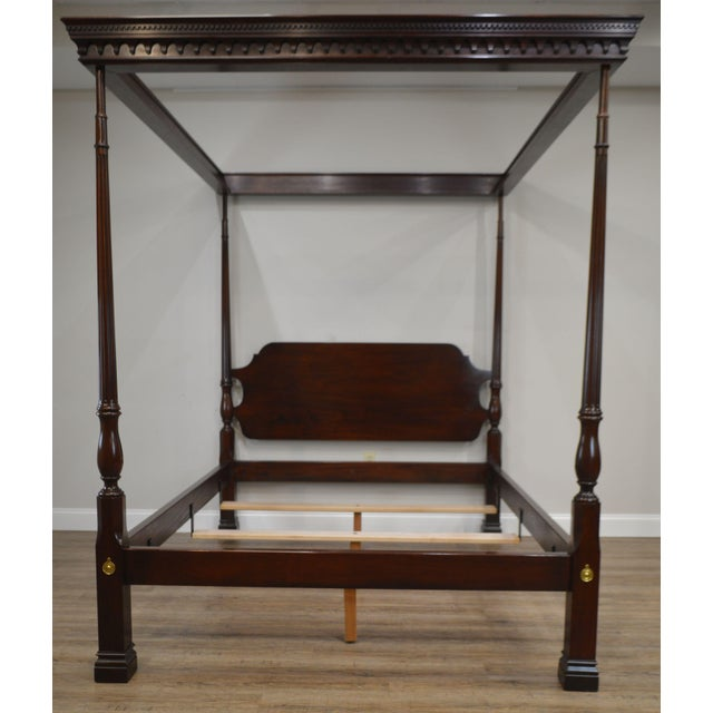 Stickley Solid Mahogany Queen Size Carved Canopy Poster Bed For Sale - Image 9 of 13