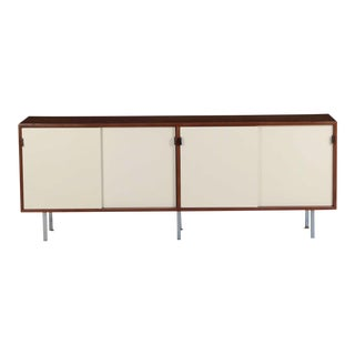 Florence Knoll Walnut and White Laminate Sideboard Credenza, Signed