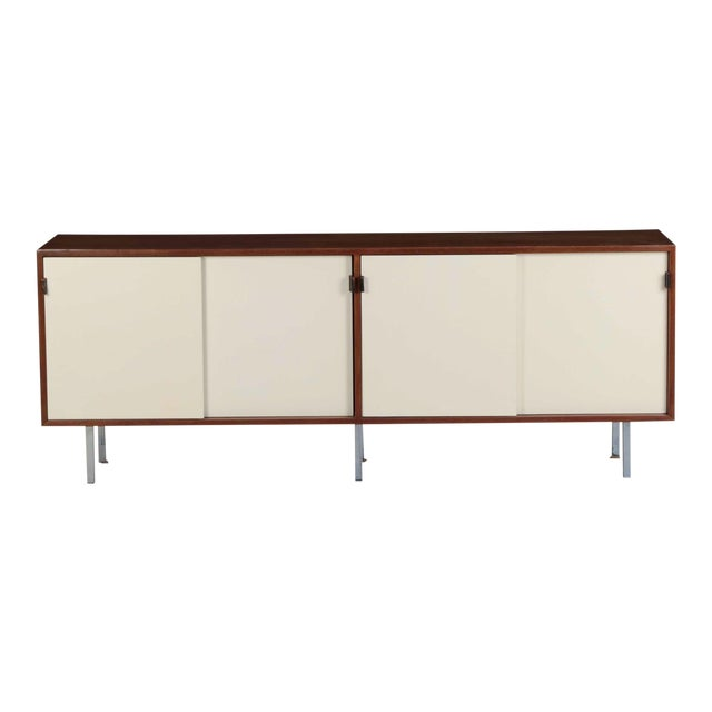 Florence Knoll Walnut and White Laminate Sideboard Credenza, Signed - Image 1 of 11