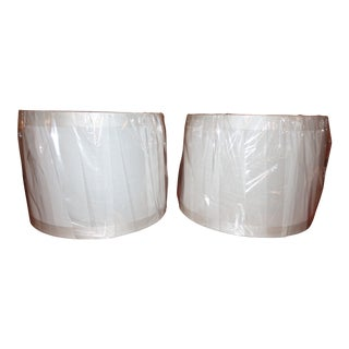 Off-White Fabric Drum Shades - A Pair For Sale