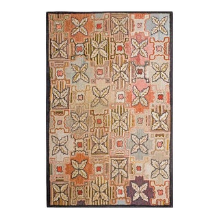 """Antique American Hooked Rug 4'0"""" X 6'0"""" For Sale"""