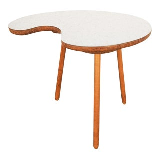 Vintage Kidney Shaped Tripod Side Table For Sale