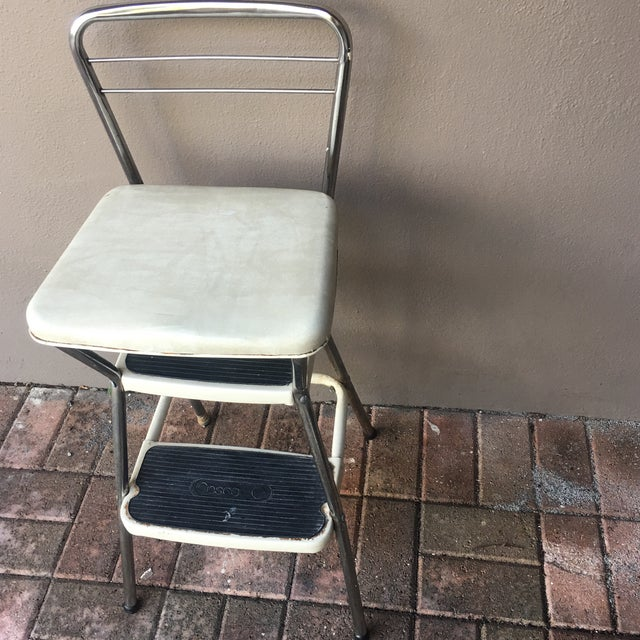 Great rustic original Cosco folding Step Stool. Chrome with cream colored metal. All 1950's original so in need of...