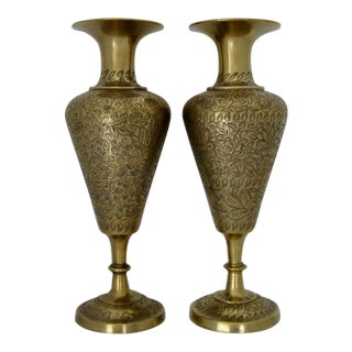 Engraved Brass Indian Vases - A Pair