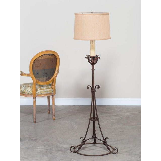 High-End Antique French Forged Iron Candle Stand Floor Lamp circa ...